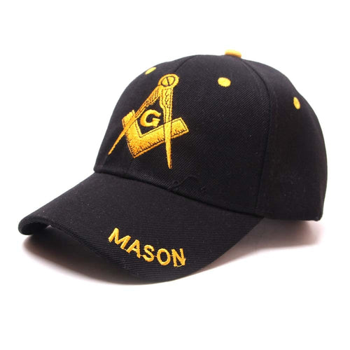 Mason Embroidered Snap-Back Baseball Cap  - Square & Compasses Design (Black)