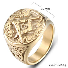 Masonic Square & Compasses Design Stainless Steel Freemasons Ring - Gold Color