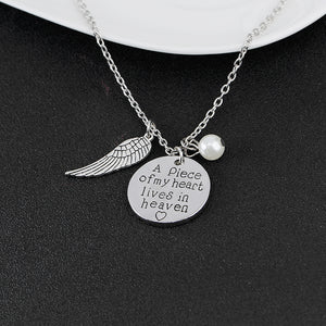 "Angel Wings Charm Necklace - A Piece of My Heart Lives in Heaven - 20"" Chain"