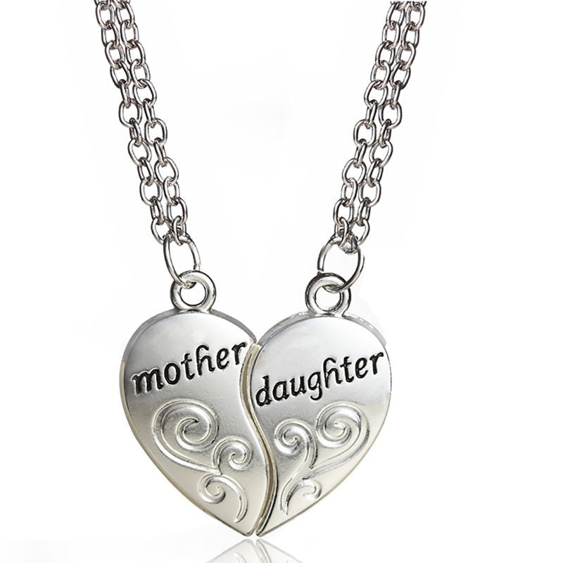 Mother & Daughter Split 2-Piece Heart Necklace and Chain Set - 18