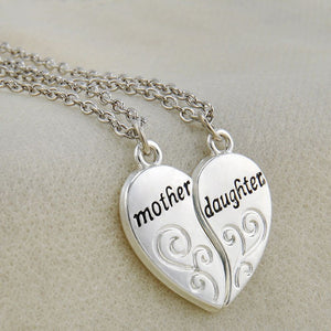"Mother & Daughter Split 2-Piece Heart Necklace and Chain Set - 18"" Chain"