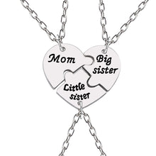 "Love Heart Necklace with Mom, Big Sister & Little Sister Pendant - 3 Separated Segments - 20"" Chain"