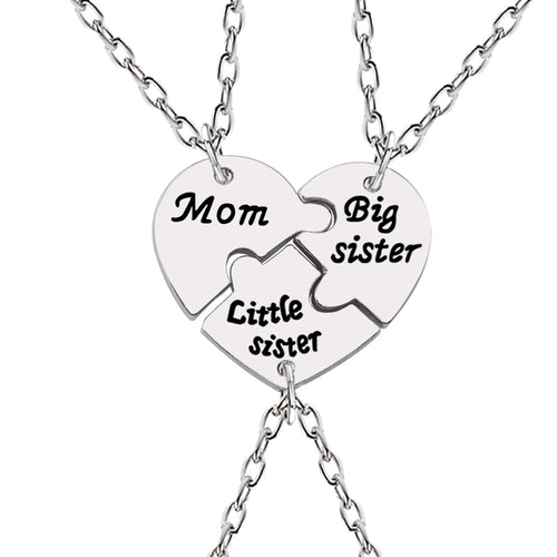 Love Heart Necklace with Mom, Big Sister & Little Sister Pendant - 3 Separated Segments - 20