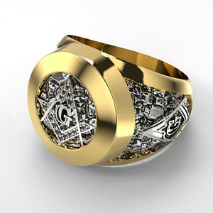 Freemasons Ring - Inlaid Rhinestones - Square & Compasses Design