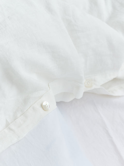French Linen Duvet — Creme White