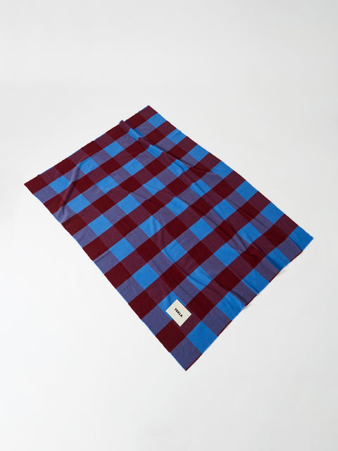 Merino Blanket — Red & Blue