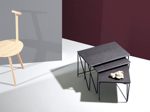 Triptych Nesting Table — Raw Lava Rock