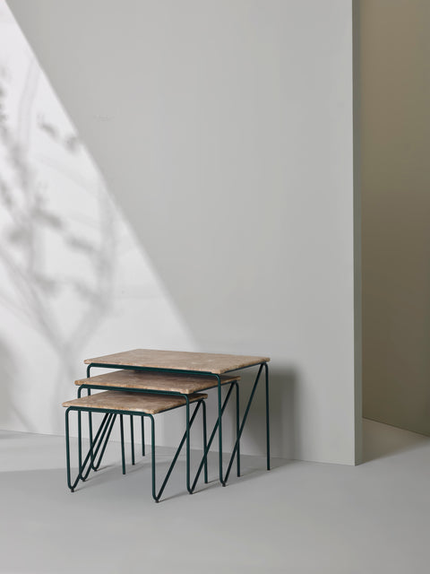 Triptych Nesting Table — Brown Marble