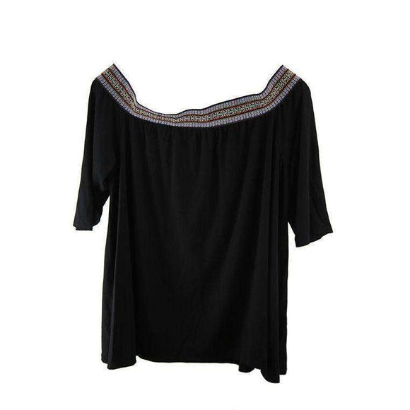 Boohoo Womens Black Embroidered Top Size UK20 RRP50 SHA06