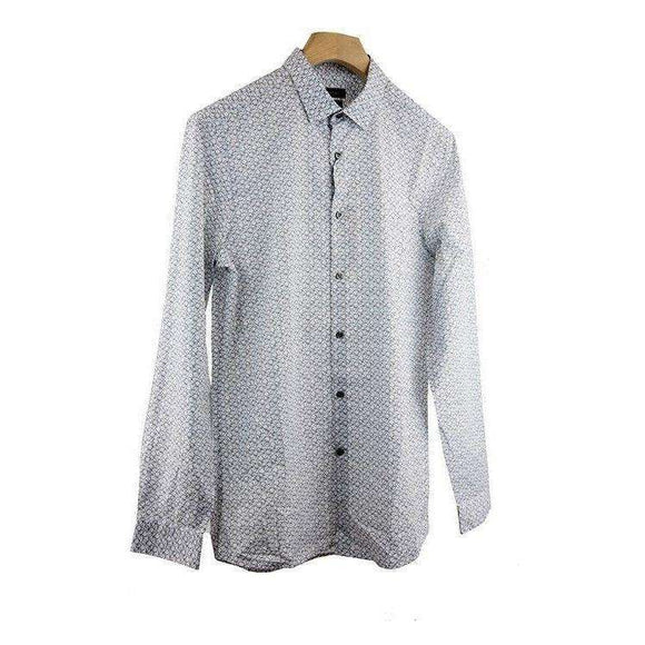 Calvin Klein White Pattern Fitted Shirt Size XL RRP90 P100