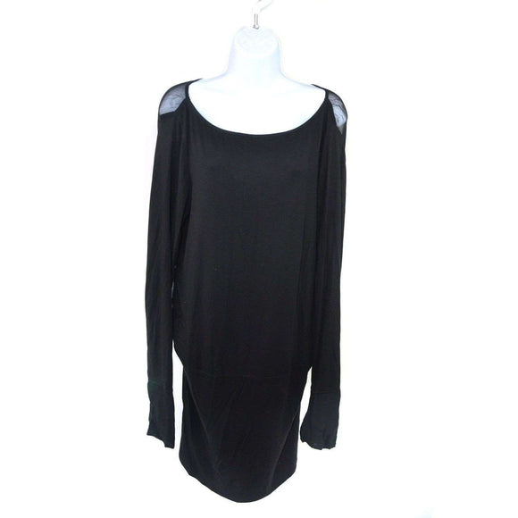 Chic Hangers Black Tunic Top Long Sleeve Size L RRP75 RET-NOV15