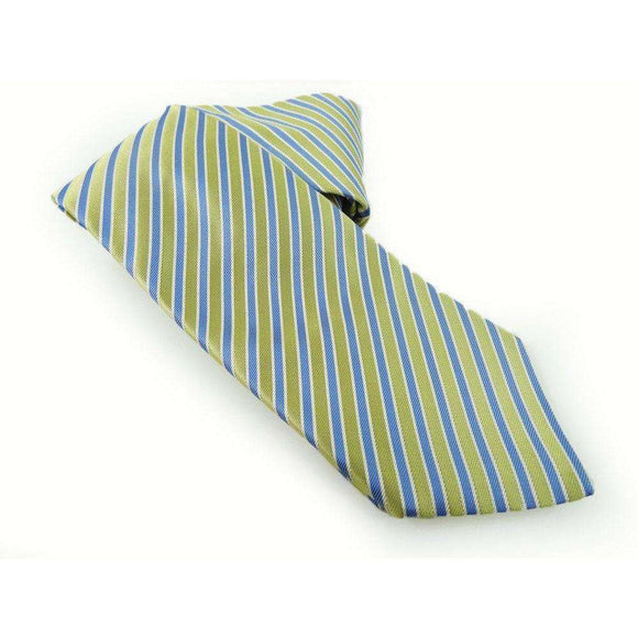 Eton Silk Yellow and Blue Striped Tie RRP75 LY18
