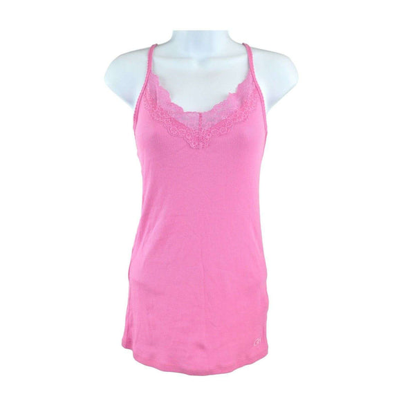 Gilly Hicks Bright Pink Lace Vest Top Size L RRP50 SH01