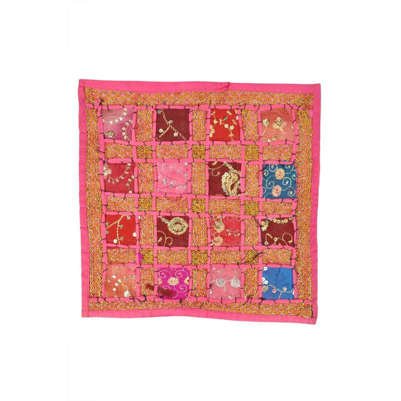 Indian Inspired Table Mat Pink Size Aprox 16x16