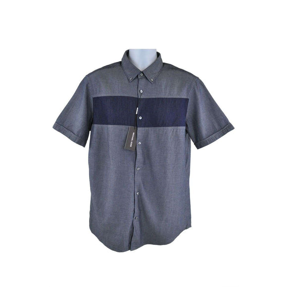 Michael Kors Short Sleeve Blue Shirt Size L RRP120 P99