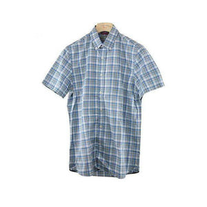 Victorinox Blue Check Short Sleeve Slim Fit Shirt Size S RRP95 P106