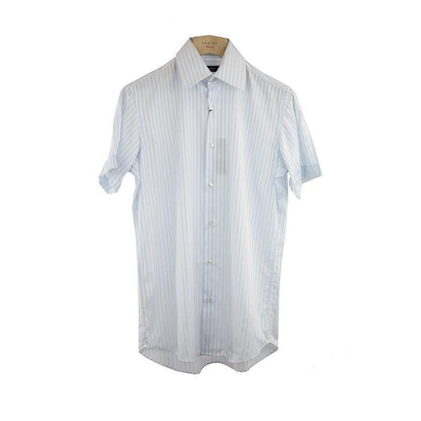 Hugo Boss Light Blue Striped Short Sleeve Shirt Size 37 RRP80 PO08