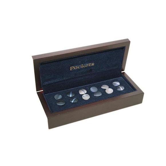 Pocket Branded Interchangable Shirt Studs and Cufflinks 6 Pairs 11 PO11