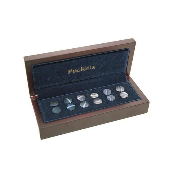 Pocket Branded Interchangable Shirt Studs and Cufflinks 6 Pairs 14 PO11