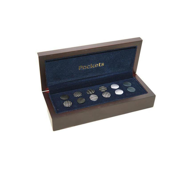 Pocket Branded Interchangable Shirt Studs and Cufflinks 6 Pairs 21 PO11