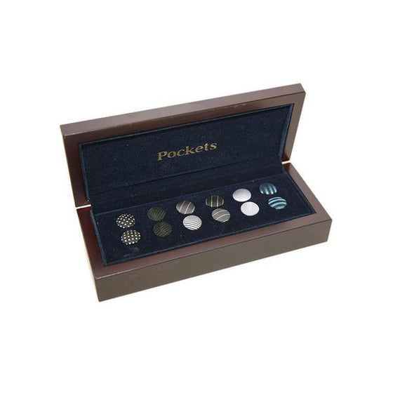 Pocket Branded Interchangable Shirt Studs and Cufflinks 6 Pairs 9 PO11
