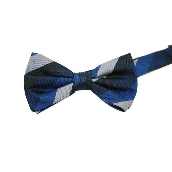 Pockets Branded Blue Striped Pattern Bow Tie RRP25 PO10