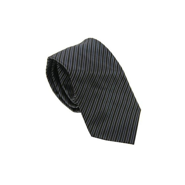 Pockets Branded Silk Tie Black Striped RRP25 PO10