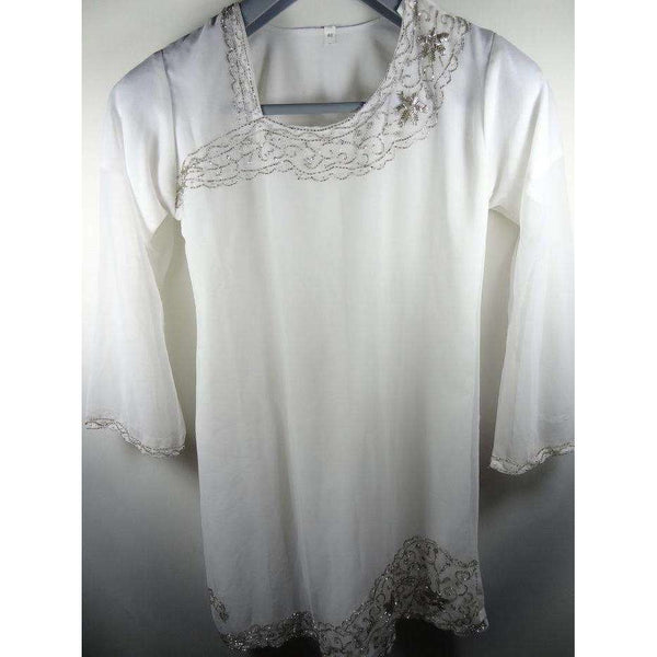 White Tunic Top Size 40 Long Sleeved Square Neck SHA-07