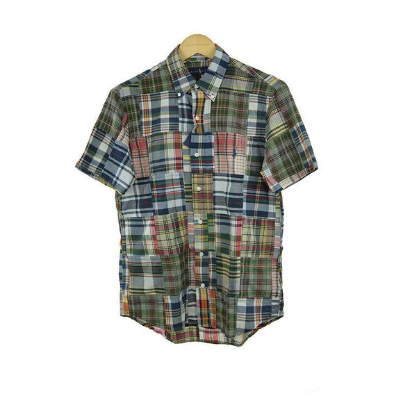 Ralph Lauren short-sleeve multi patch check shirt size S RRP 110 C18