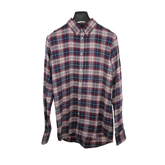 Dsquared red blue check long sleeve shirt size 50 RRP470 DAR225