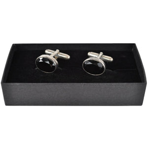 Chrome Cufflinks with black onyx stone RRP20 D203