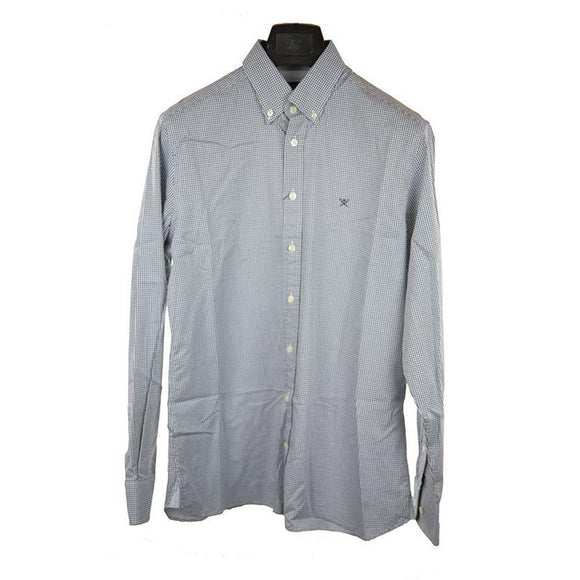 Hackett Light grey gingham long sleeve shirt M RRP100 DAR222