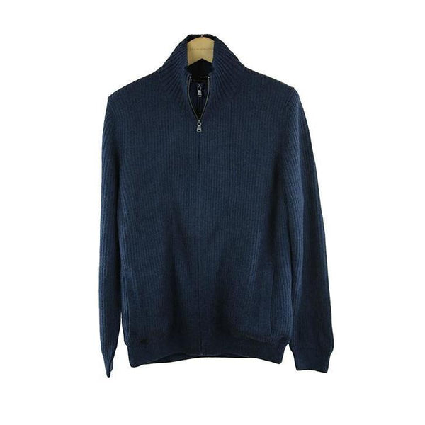 Hackett indigo blue panel full zip jumper L RRP275 D207