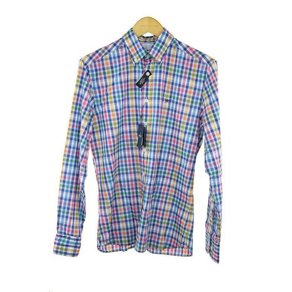 Hackett multi-coloured checked long sleeve shirt S RRP115 DAR214
