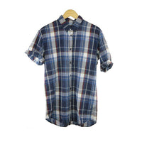 Dsquared blue check short sleeve shirt M RRP390 DAR214