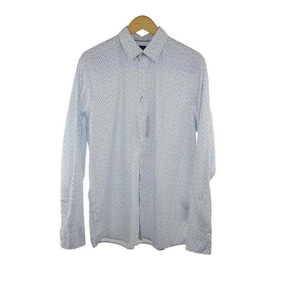 Hackett Navy white long sleeve shirt XL RRP115 DAR214