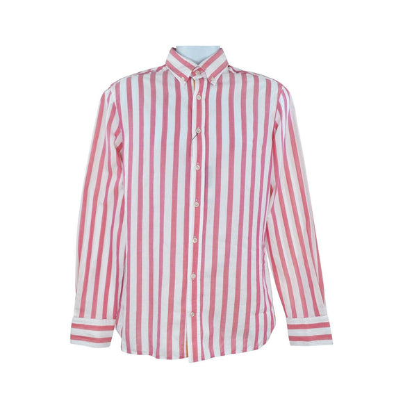 Hackett pink stripe long sleeve shirt slim fit size M RRP130 DAR234