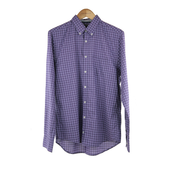 Tommy Hilfiger purple Tom check long sleeve shirt size M RRP 100