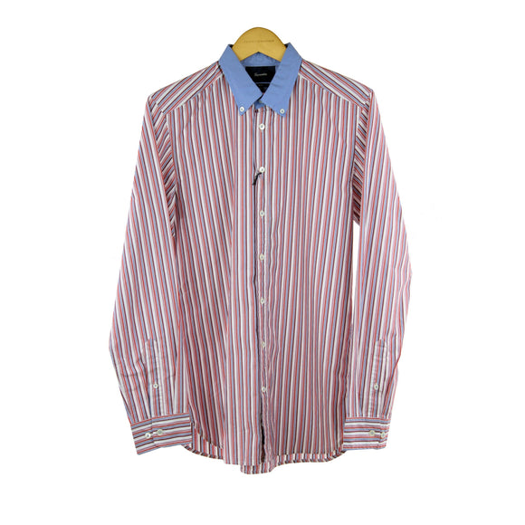 Faconnable candy striped long sleeve slim fit shirt size M RRP 100