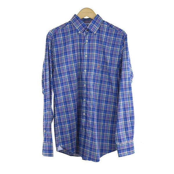 Fynch-Hatton long-sleeve Blue check shirt size M RRP80 DV10