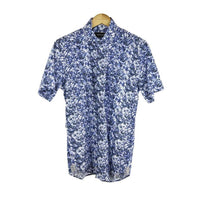 Bogosse short sleeve shirt with navy print size M RRP 100 DV11
