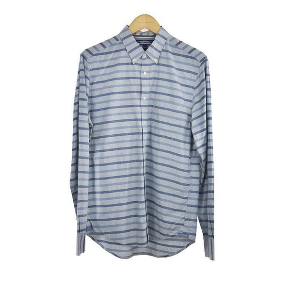 Tommy Hilfiger chambray blue striped long sleeve shirt size M RRP 90 DV11