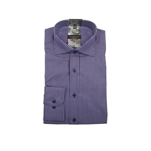 Eterna modern fit purple check long sleeve shirt size 38 RRP 60 DV14