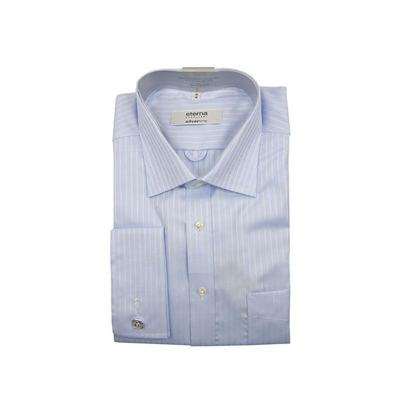 Eterna excellent Silverline blue with fine stripe long sleeve shirt size 46 RRP