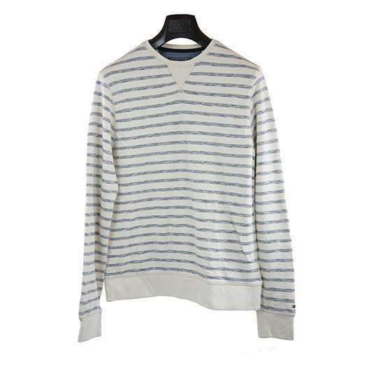 Tommy Hilfiger cream stripe long-sleeve jumper M RRP120 DV27