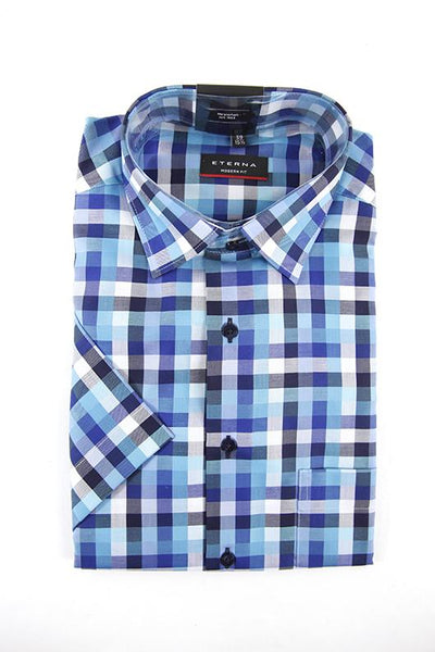 Eterna blue pattern short sleeve shirt size 39 RRP60 FR04