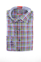 Eterna green blue check long sleeve shirt size M RRP60 FR04