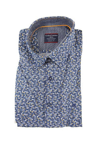 Casa Moda dark blue pattern short sleeve shirt L RRP80 GAB81