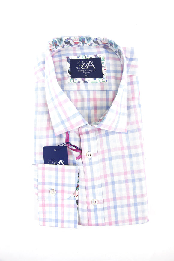 Henry Arlington light blue pink check long sleeve shirt XXL RRP80 GAB85