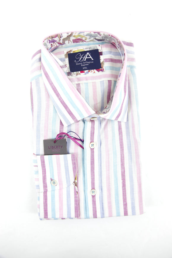 Henry Arlington pink pastle stripe long sleeve shirt XXL RRP80 GAB85